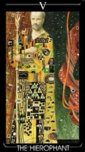5 Аркан Жрец Иерофант Золотое Таро Климта